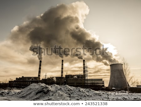 Verontreiniging fabriek stad illustratie gebouw stad Stockfoto © bluering