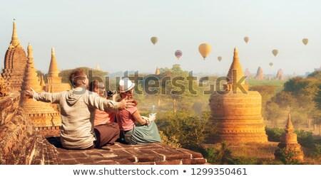 Stock fotó: Fiatal · nő · turista · pagoda · utazás · Ázsia · utazó