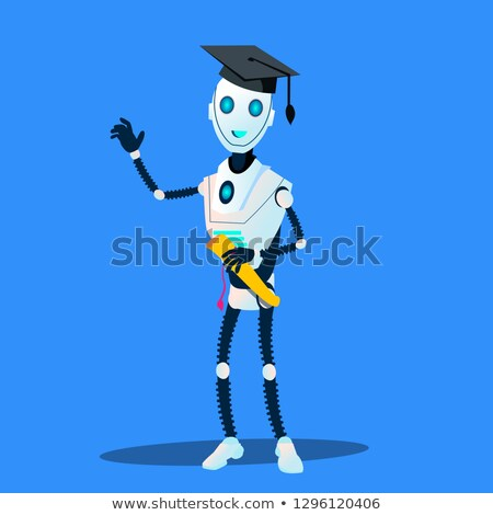 Akıllı robot mezun kapak diploma eller Stok fotoğraf © pikepicture