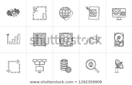 globe and server hand drawn outline doodle icon stock photo © rastudio