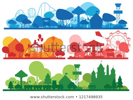 A colour silhouette amusement park template Stock photo © bluering