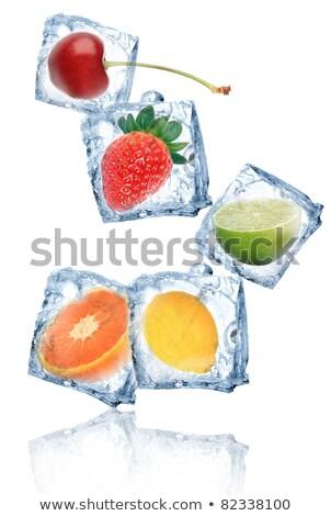 лимона заморожены Ice Cube фрукты фон холодно Сток-фото © joannawnuk