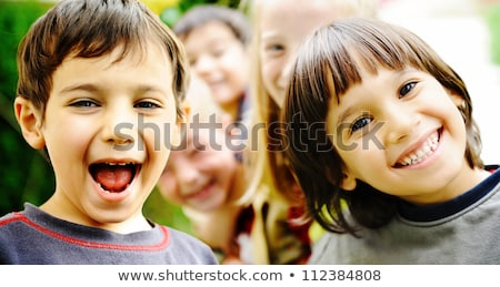 Viele Kinder glückliches Gesicht Illustration Mädchen Lächeln Stock foto © colematt