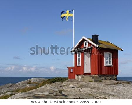 Ház zászló Svédország csetepaté fehér házak Stock fotó © MikhailMishchenko