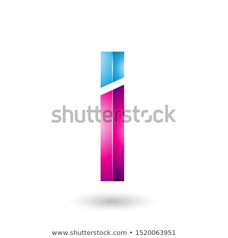 Blue and Magenta Rectangular Glossy Letter I Stock photo © cidepix