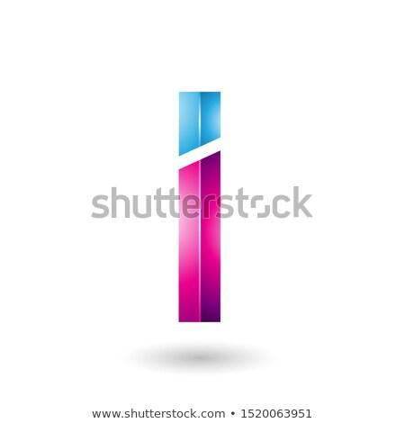 Kék magenta négyszögletes fényes i betű absztrakt Stock fotó © cidepix
