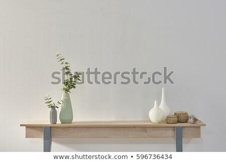 Padlás otthoni iroda munkahely cserepes növény copy space vázlat Stock fotó © karandaev
