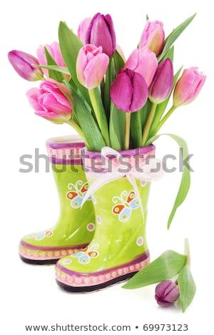Photo stock: Pâques · fraîches · tulipes · tulipe · fleurs · laisse