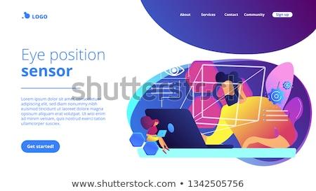 Szem technológia leszállás oldal üzletember mér Stock fotó © RAStudio