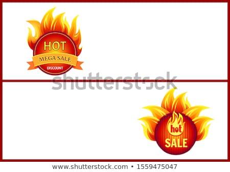 feliratok · láng · háló · szalag · szett · bannerek - stock fotó © robuart