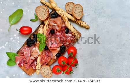 Antipasti blanco placa mesa rojo carne Foto stock © tycoon