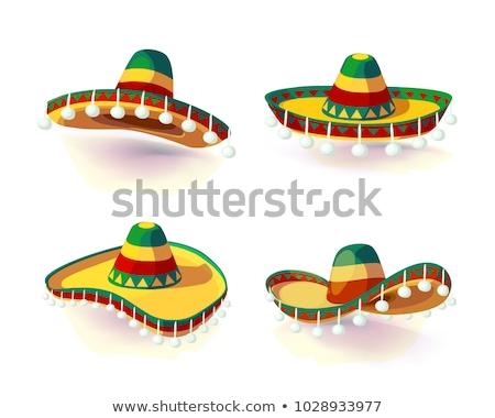 сомбреро мексиканских традиционный соломы широкий Hat Сток-фото © orensila