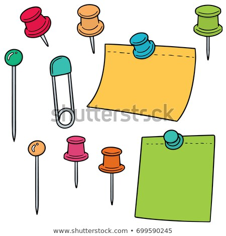vector set of pin and memonote stock photo © olllikeballoon
