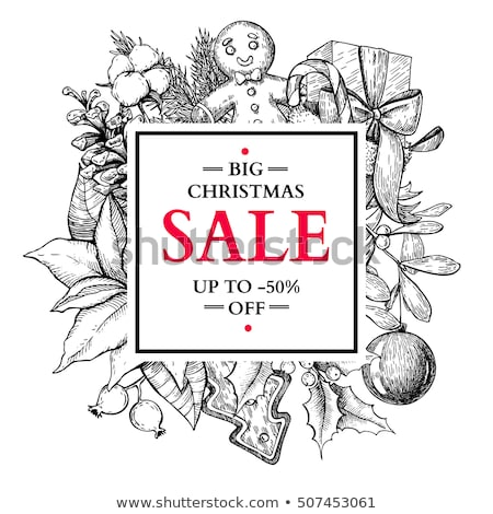 Christmas Sale Labels Pine Tree Gingerbread Cookie Stock photo © robuart