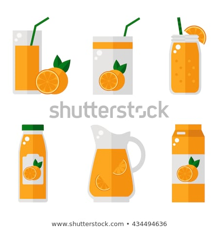 fresh fruit and juice   flat design style colorful illustration stock photo © decorwithme