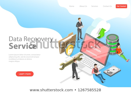 Isometric flat vector landing pate template of data recovery services. Stock photo © TarikVision