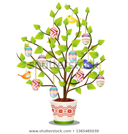 Artificial Easter plant with hanging decorated eggs and birds isolated on white background. Vector c Stok fotoğraf © Lady-Luck