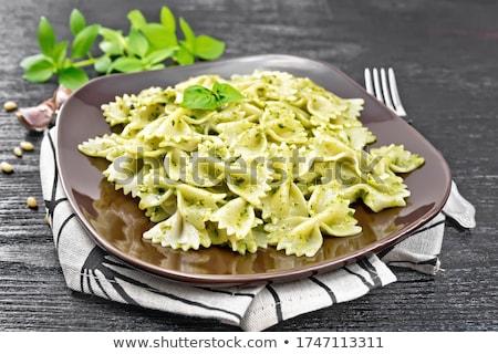 Foto d'archivio: Pesto · bianco · tavolo · in · legno · alimentare · fresche