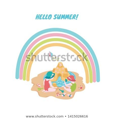 Hello lata karty dziewczyna gry plaży Zdjęcia stock © cienpies
