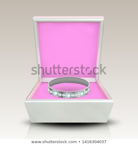 Encrusted Silver Ring In White Square Box Vector Stock photo © pikepicture
