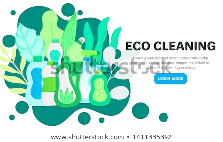 Vector background with eco friendly household cleaning supplies. Natural detergents. Landing page te Stock photo © user_10144511