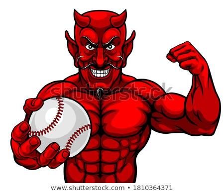 şeytan beysbol spor maskot top Stok fotoğraf © Krisdog