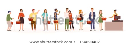 grocery shopping people with purchases vector stock photo © robuart