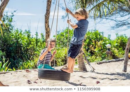 two little blonde boys having fun on the swing on the tropical sandy coast stock photo © galitskaya