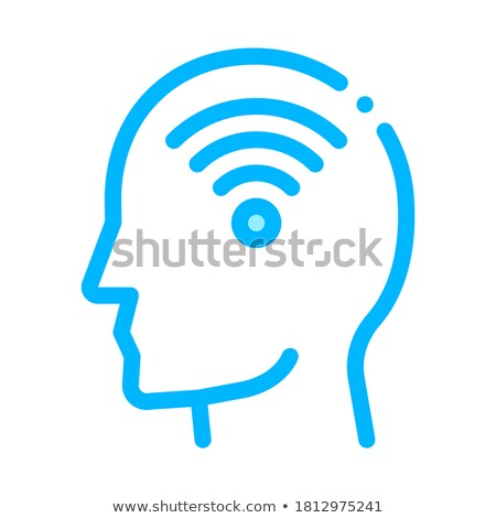 Wifi symbole homme silhouette esprit vecteur Photo stock © pikepicture