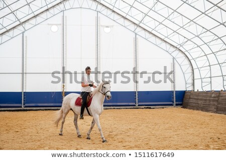 Young active woman sitting on back of horse while moving down sandy arena Stock photo © pressmaster