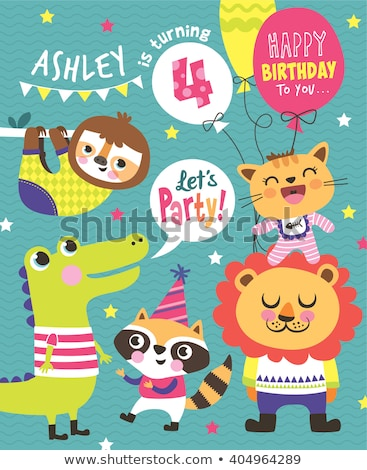 Children 4th birthday greeting card vector template Stock photo © Decorwithme
