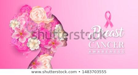 Cancer du sein conscience fleur mois carte de vœux Photo stock © cienpies