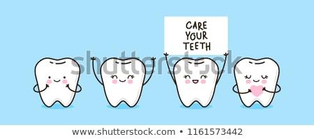 Boldog fogak illusztráció fehér művészet száj Stock fotó © get4net