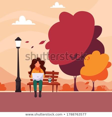 Vrouw freelance werknemer park vector mensen Stockfoto © robuart
