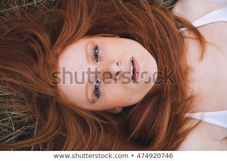 Bella ritratto fieno campo donna Foto d'archivio © Lopolo