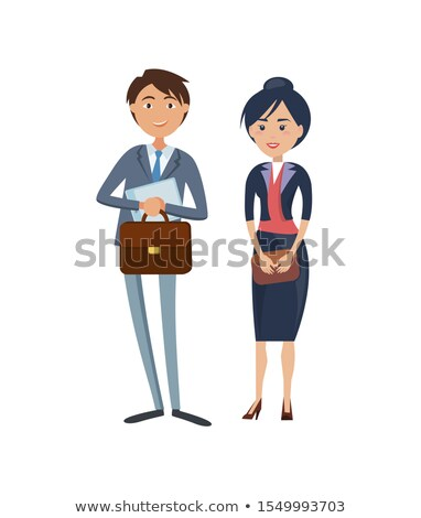 Happy Businessman with Briefcase and Lady Boss Stock photo © robuart