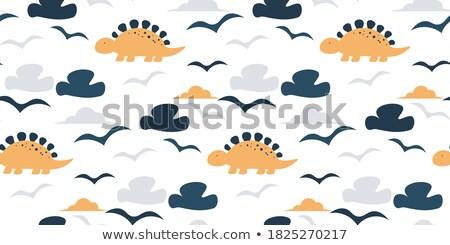 Green dinosaurs cute flat hand drawn cartoon vector seamless pattern, background, texture, wallpaper Stock photo © foxbiz