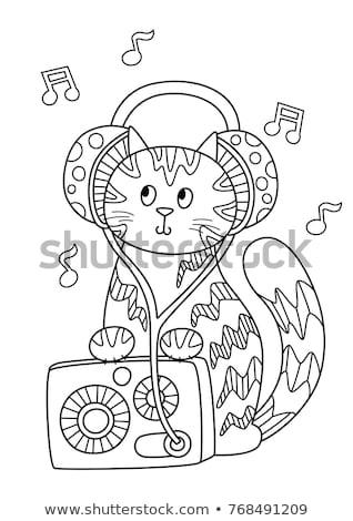 Grappig kleurrijk musical hoofdtelefoon vector patroon Stockfoto © barsrsind