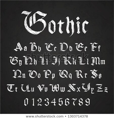 Eski Gotik harfler çizim beyaz Stok fotoğraf © evgeny89