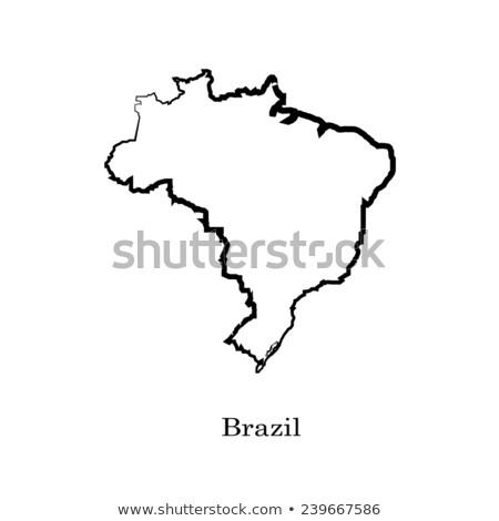 Bayrak ülke ulus Brezilya siyah beyaz Stok fotoğraf © patrimonio