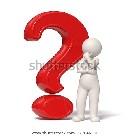 Stockfoto: 3d Guy Thinking In Front Of A Big Question Mark - Isolated