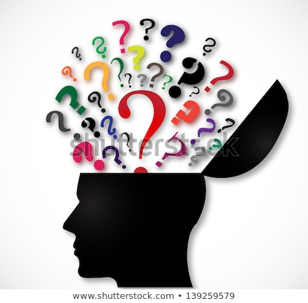 Stock photo: Human brain and colorful question mark