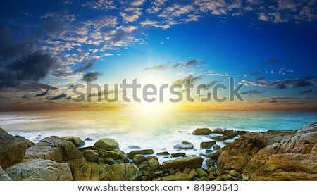 Stockfoto: Sunset Over The Sea Long Exposure Shot Panoramic Composition