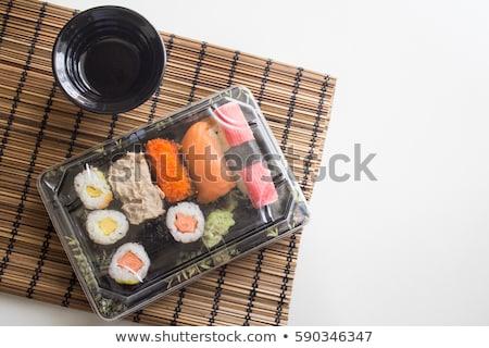 sushi · preto · bandeja · japonês · maki - foto stock © aladin66