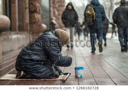 bêbado · mulher · lixo · cartão · cidade · beber - foto stock © smithore