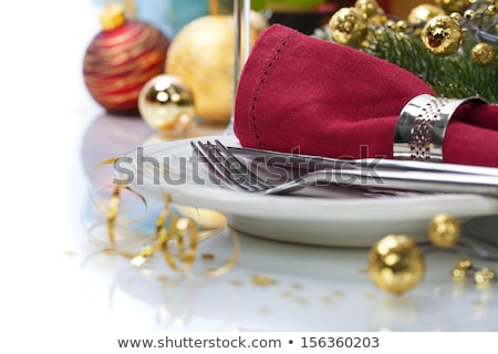 festive place setting and candlelight Stock photo © prill