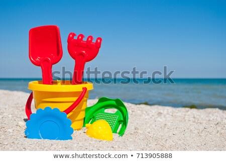 Geel speelgoed spatel witte werk koken Stockfoto © mybaitshop