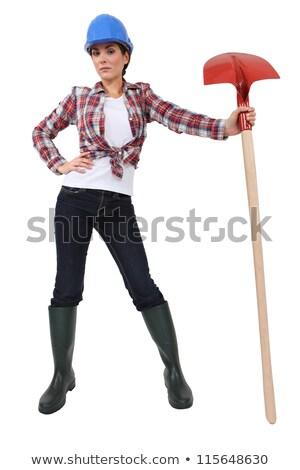 Murarz łopata tle dżinsy czerwony Zdjęcia stock © photography33