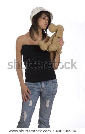 かなり · 民族 · 若い女性 · キス · テディベア · 肖像 - ストックフォト © ampyang
