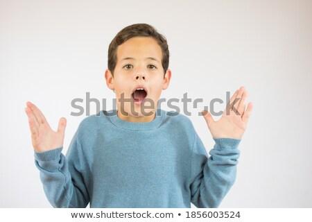 enfants · drôle · geste · ouvrir · doigts · main - photo stock © lunamarina